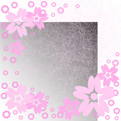 pink flowers on  gradient background with scratches