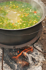 fish soup (with parsley) on fire outside - closeup