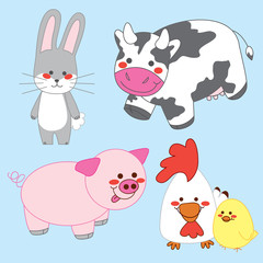 Happy Farm. Bunny, Cow, Pig, Chicken and Chick.