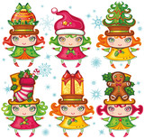 Vector set of funny Xmas girls