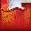 abstract red cracked background electric guitar