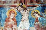 Ancient fresco in Ghelinta (Gelence) church. Transylvania poster