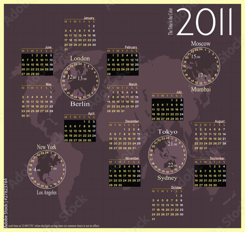 Modern calendar for 2011, with 8 local times.
