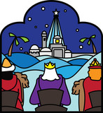 three kings arriving at bethlehem vector