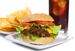 hamburger with vegetables and fries