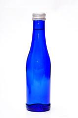 blaue sekt flasche