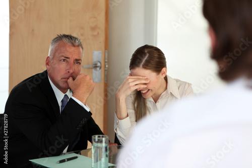 Tense job interview