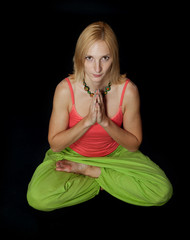Practicing Yoga. Young woman