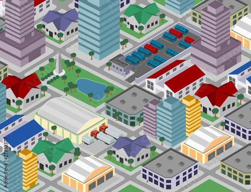 Foto op Plexiglas Op straat Isometric city (vector)