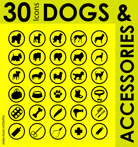 silhouettes of different breeds of dogs and accessories set