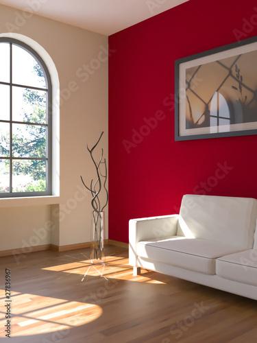 Sofa Rendering Sonne rot
