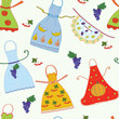 Seamless pattern with aprons and fruits