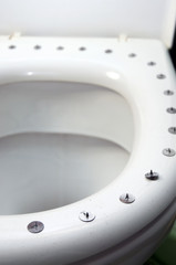 metall circle sharp buttons on the top of toilet