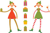 Cute Christmas elves poster