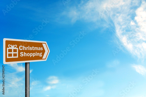 Photo realistic 'Christmas shopping' sign, with space for text