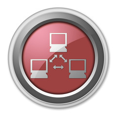 "Red 3D Style Button ""Network"""