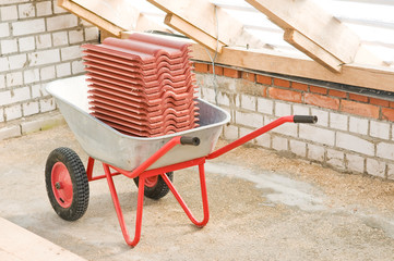 professional galvanized wheelbarrow with clay tile