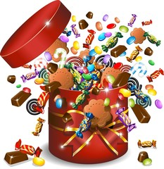 Scatola Caramelle Cioccolato e Biscotti-Candies Gift-Vector