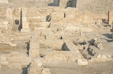 Ruins of Bahrain fort with Imprints of rooms and walls
