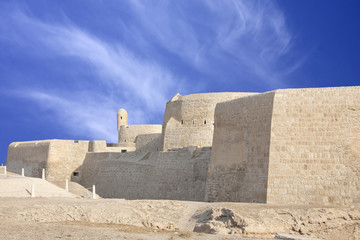 Southern wall of Bahrain fort with visible watch tower