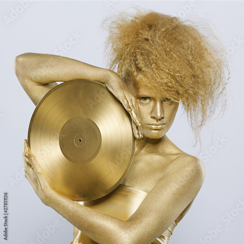 golden girl with vinyl