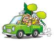 Leinwanddruck Bild - Gardener Service Van