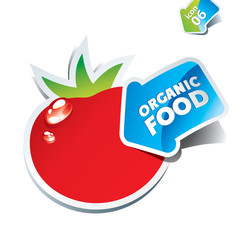 Icon tomato with an arrow by organic food