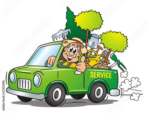 Leinwanddruck Bild Gardener Service Van