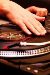 Hip-hop DJ scratching the record