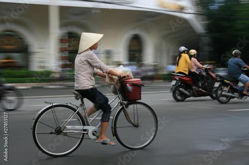 Vietnam Woman Cycling