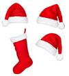 Three red santa hats and christmas stocking. Vector.