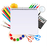 Fototapety Spiral notepad with school supplies. Vector.