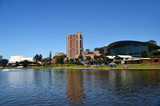 The Adelaide skyline from the River Torrens in South Australia.