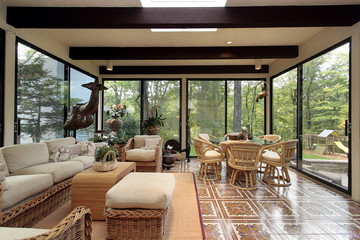 Sunroom with patterned tile