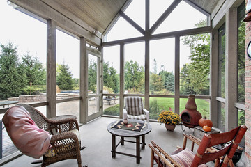 Screen porch with patio view