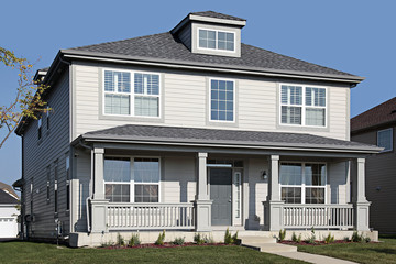 Gray home with front porch