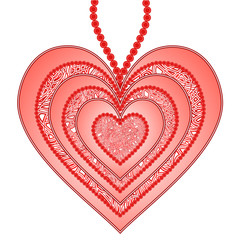 Beautiful pendant as heart isolated on a white background