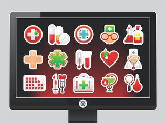 screen with medical icons