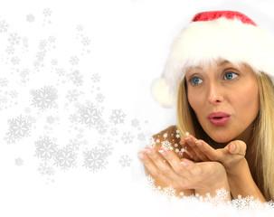 Femme souffle flocons neige - Noël