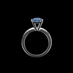 sapphire ring on black