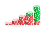 Casino chips illustrating a growth chart on white background
