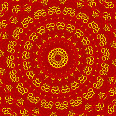 Aum Shanti Mandala - Rot Gold
