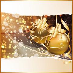 Golden Christmas background, vector illustration