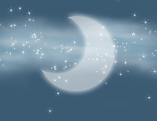 Milky Way, Moon and Stars Fantasy Illustration