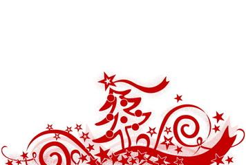Weihnachtliche Dekoration mit Tannenbaum, rot