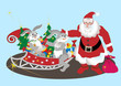 Santa Claus with hares. Illustration.Background