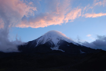 Sunset over the Koryak volcano