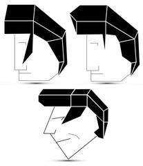 elvis style vector hair heads