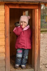 baby in wooden toy home