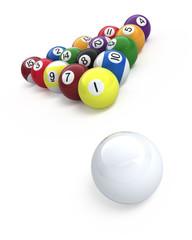 Billiard balls isolated on white